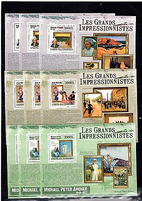 9x Comoro - Art.Impressionnistes.Paintings - S/S  MNH** - Wholesale!-(AA6)