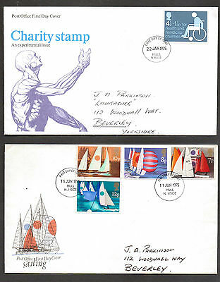 Gb 1975 Two 1975  First Day Covers 1975