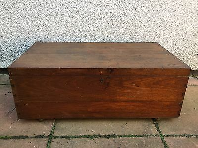 Large Antique Mahogany Blanket Box Trunk Chest Coffee Table