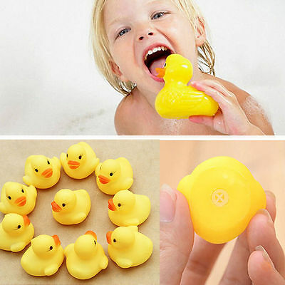 10 Rubber Yellow Ducks Fun Kids Bath Squeaky Toy New Baby Duck Time Heat Fet
