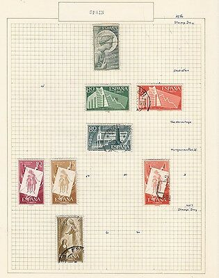 SPAIN 1956-7 Collection  on Old Album Page  items removed for Postage