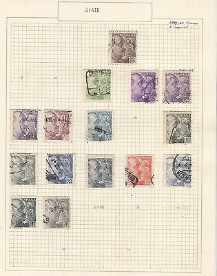 SPAIN 1936-8 Collection  on Old Album Page  items removed for Postage