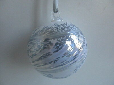 Glass Mouth Blown Spirit or Friendship Ball White Frost 8cm Boxed Ideal Gift