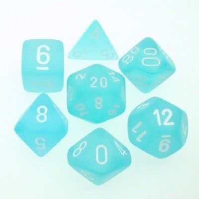 Set 7 Dice Chessex Frosted Caribbean Blue white 27416 Die D&D