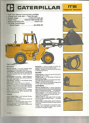 Caterpillar Tractor Construction Tool Carrier It18 Brochure Catalog