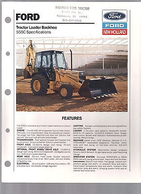 1989 New Holland Ford Tractor 555C  Backhoe Loader Sales Brochure