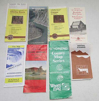 Vintage Lot of 8 Wyoming Maps Great Falls Casper Shirley Basin Highway County...