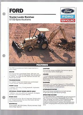 1992 New Holland Ford Tractor 575D Backhoe Loader Sales Brochure