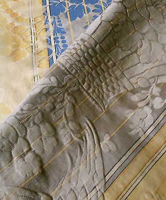 Antique French Damask Fabric #2~ Cherub Bird ~ Faded Grandeur Taupe Gold Blue