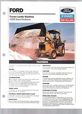 1992 New Holland Ford Tractor 455D  Backhoe Loader Sales Brochure