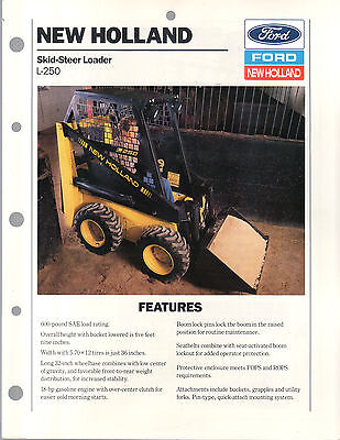 1989 Ford New Holland Tractor Skid Steer Loader L250 Brochure