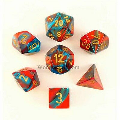 7 Dice Set Chessex GEMINI Red TEAL gold 26462 Dice Red Green Water gold d&d