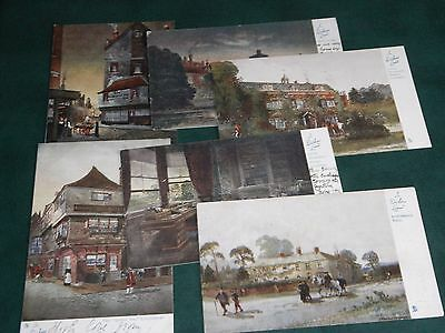 SET OF SIX SIGNED TUCK POSTCARDS - IN DICKENS LAND - OILETTE No. 1163.