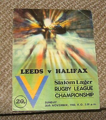 Rugby League Programme Leeds v Halifax 30-11-80