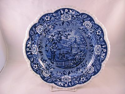 Antique 19thC Blue Staffordshire Dinner Plate Ridgway Asiatic Palaces Scallop 10