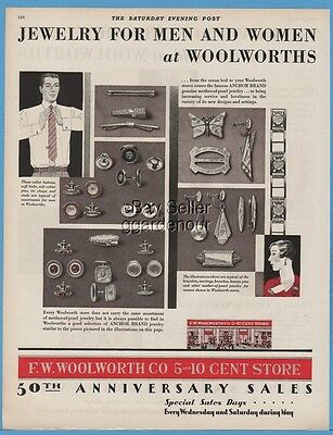 1929 F. W. Woolworth Co 5 and 10 Cent Store Anchor Jewelry Cufflinks Earrings Ad