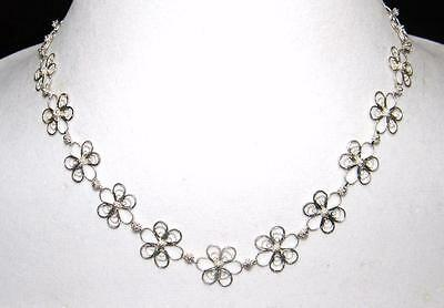 Vintage 925 Sterling Filigree Flower Necklace