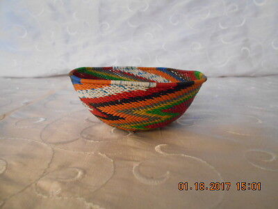 Telephone Wire Basket Hand Made Multicolor