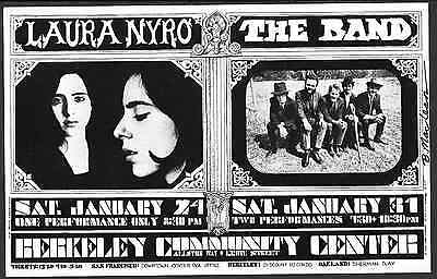 Laura Nyro The Band  Fillmore Era  Concert Handbill 1970  BG 215 SIGNED MACLEAN