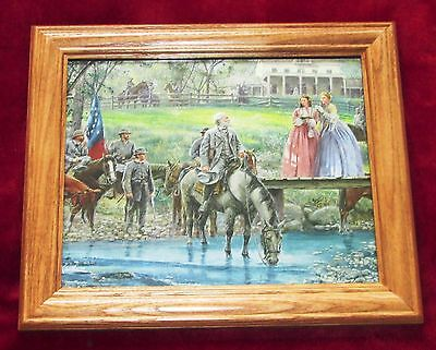 Framed Civil War Print. Mort Kunstler, Robert E Lee, Bel Air, Gettysburg