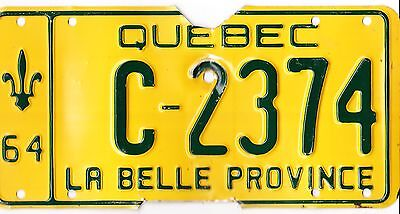 ���� ���� Authentic Canada 1964 Quebec License Plate.  C-2374