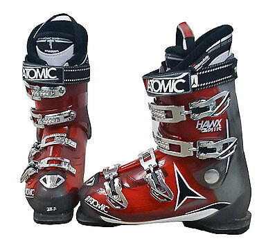 2014-15 Atomic Hawx Plus Ski Boots Mondo 25 Mens 7 Red/Gray/White - USED