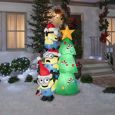 Lighted Airblown Inflatable 6ft Minions Christmas Tree Outdoor Yard Decoration
