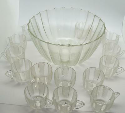 Dewdrop Punch Bowl Set with 15 cups Jeanette Glass Clear