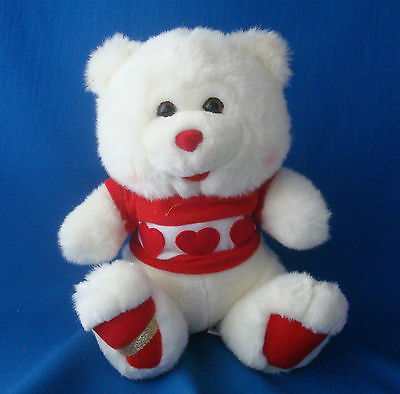 """Goffa plush white bear with hearts and red feet Valentine's Day greeter 10"""""""
