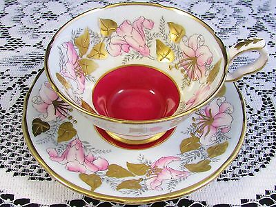 Royal Stafford Morning Glory Red Raised Gold Tea Cup And Saucer