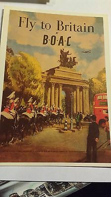 old advertising postcards FLY TO BRITAIN BY BOAC(LONDON SCENE)