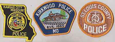 Kirkwood, St Louis County & Kansas City MO Police patches