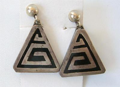 Vintage Sterling Silver Black Art Deco Mayan Earrings Triangle Dangle 925 Mexico