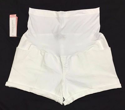 *New* Liz Lange Maternity Size Medium Cute Over the Belly White Cotton Shorts!