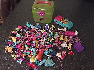 Polly Pocket Collection Of Accessories And Clothes, Car And Carry Case