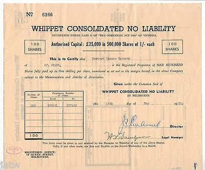 Share Scrip - Mining. 1951 Whippet Consolidated N/L.. (Vic??)
