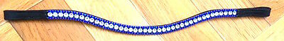 NEW BLING!*Leather Sparkly Browband*3-Rows Crystals*Dressage Blue/Clear BLACK*