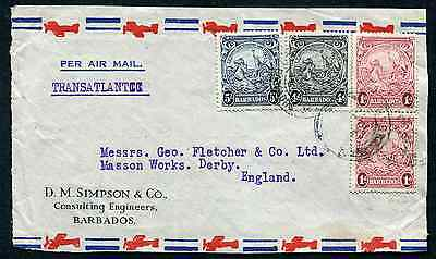 BARBADOS: (14373) 5/6d rate to Derby cover FRONT