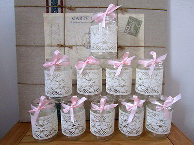 10 Vintage Glass Jars Vases Centre Pieces Pink Shabby Chic Wedding Lace