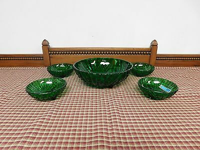 Vintage Emerald Green Glass 5 Piece Footed Berry Set
