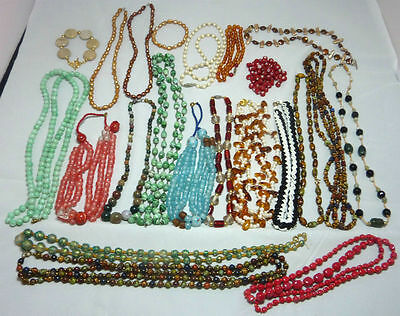 Joblot of Vintage & Modern Bead Necklaces - Glass Stone Agate Amber Pearls