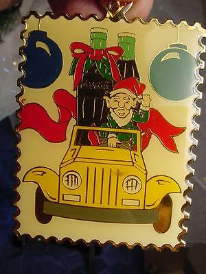 1994 COCA COLA CHRISTMAS ORNAMENT LTD ED 22KGP Bottles of COKE ELF in JEEP NEW