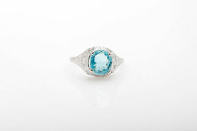 Antique 1920s 4ct Natural Old Mine Cut Blue Zircon 18k White Gold Filigree Ring