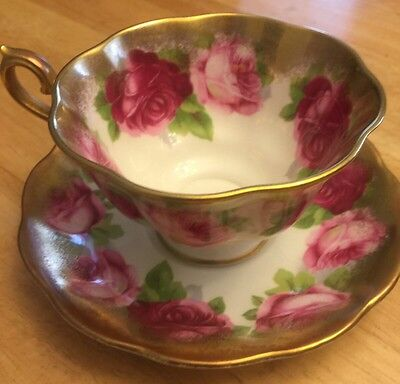 Vintage Royal Albert Old English Rose Footed Cup & Saucer Heavy Gold Fluted