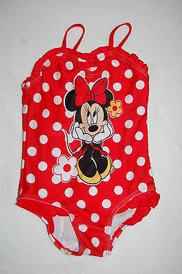 Toddler Baby Girls 1 PC Swimsuit MINNIE MOUSE Red w/ White Polka Dots 24 MO
