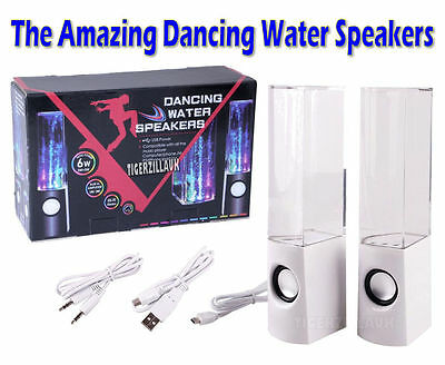 White Dancing Water Speakers LED Lights Music Fountain USB iPhone iPad iPod PC