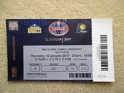 NBA Basketball used ticket - Pacers v Nuggets Global games London o2 Arena 2017