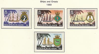 SOLOMON ISLANDS 1980 Ships and Crests  Set of 4 MUH