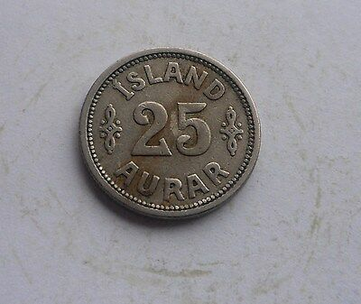 Iceland, 25 Aurar 1923 in Good Condition.