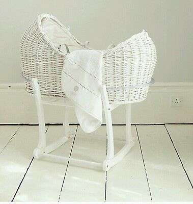 Used Mothercare White Wicker Baby Moses Basket Noah Pod & Rocking Stand Mattress